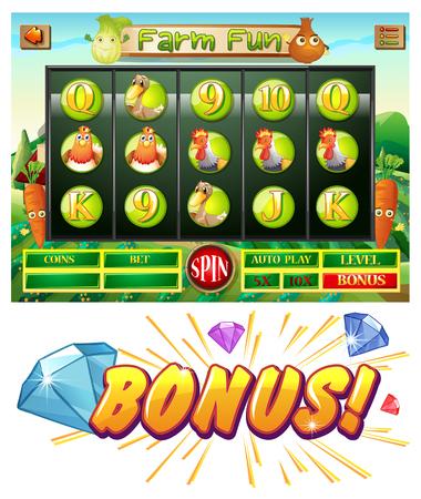 casino machine: Computer game template with farm theme illustration Illustration