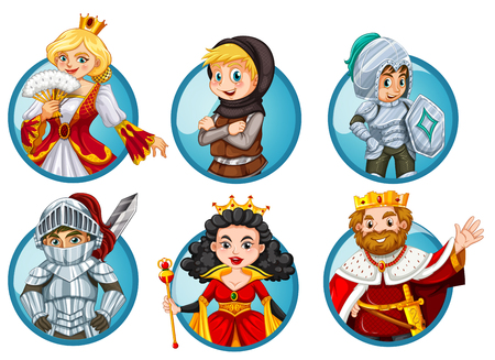 role play: Different fairytales characters on round badge illustration