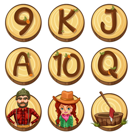 Lumber jacks and numbers on round badges illustration