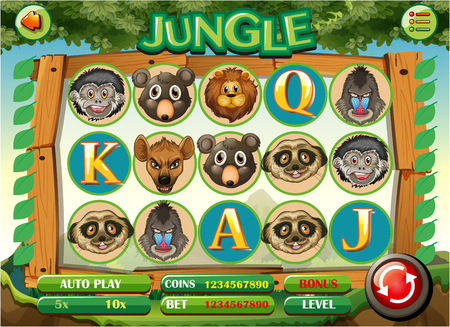 casinos: Computer game template with jungle theme illustration