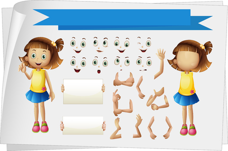 body parts: Girl with different body parts illustration