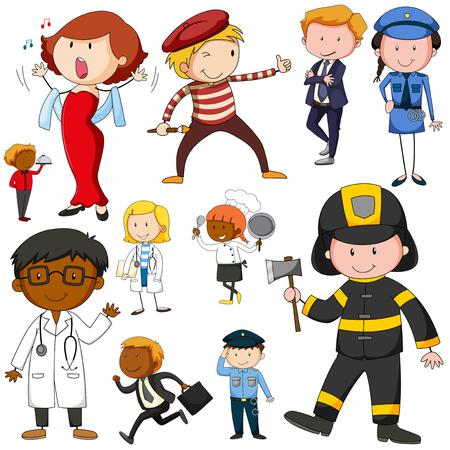 jobs people: Set of people doing different jobs illustration Illustration
