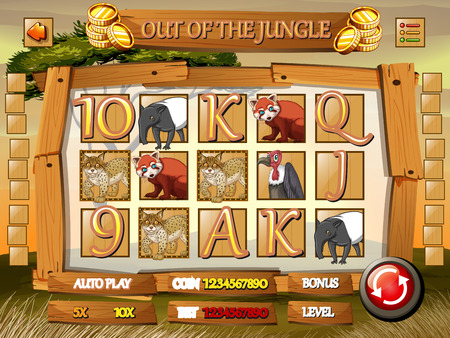 forest animals: Game template with wild animals in jungle illustration