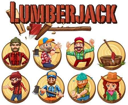 Lumber jack set on round badges illustration
