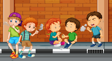 illustration people: Children smoking and doing drugs on the street illustration