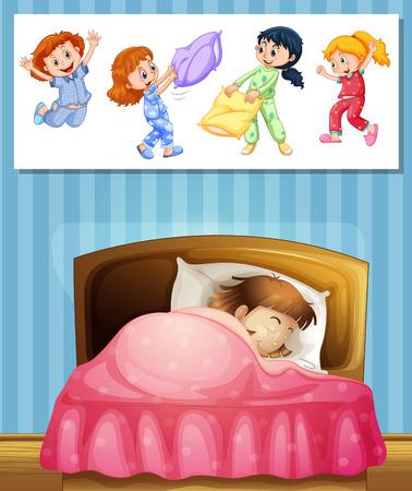 pijamada: Chica durmiendo en la ilustración de la cama