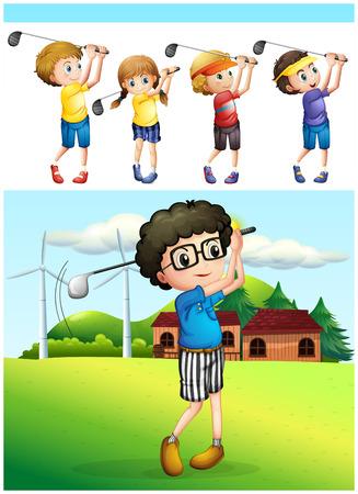 teen golf: Los niños que juegan al golf en el césped de la ilustración