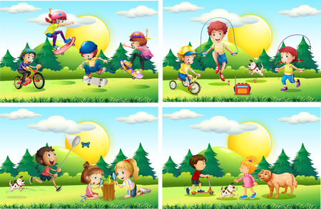 Kids playing in the park illustration