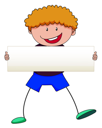curly hair: Boy with curly hair holding white sign illustration