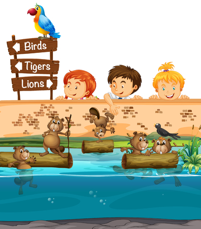 beavers: Kids looing at beavers in the zoo illustration