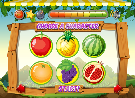 Game template with fresh fruits background illustration