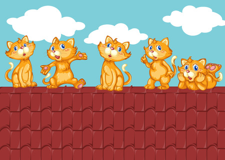 roof: Five kittens on the red roof illustration