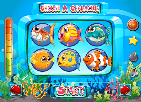 computer game: Computer game template with fish as characters illustration