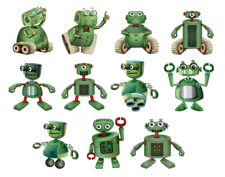 Green robots in different actions illustration