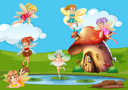 fantacy: Many fairies flying over the pond illustration