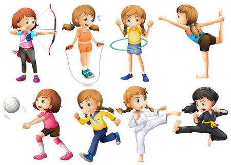 hulahoop: Girls doing different kinds of sport illustration