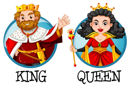 king and queen: King and queen on round badges illustration