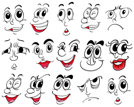 laughs: Different facial expressions on white background illustration