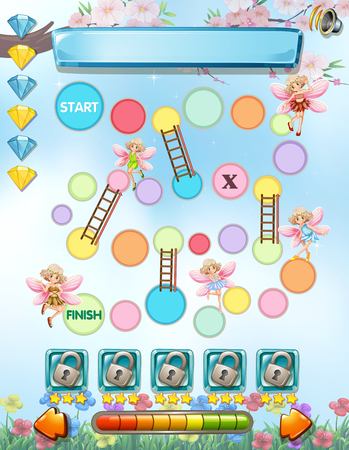 fantacy: Computer game template with fairies flying illustration