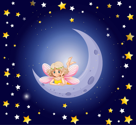 fantacy: Cute fairy and the moon in the sky illustration