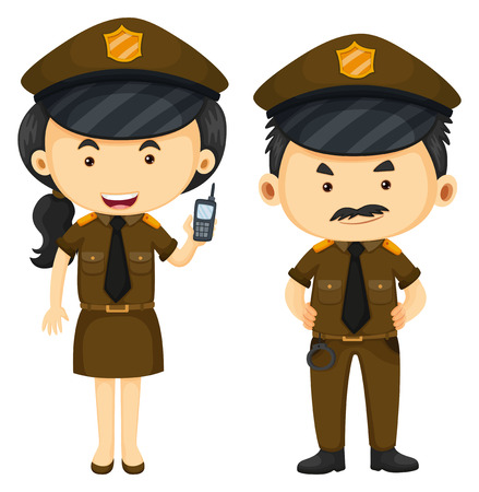 handcuffs woman: Police officers in brown uniform illustration