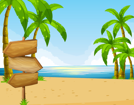 Scene with ocean and beach illustration