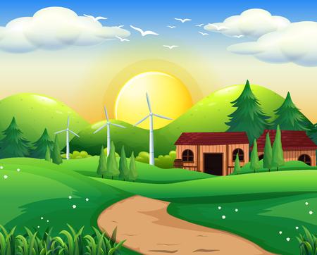 Scene with house and windmills illustration Illustration