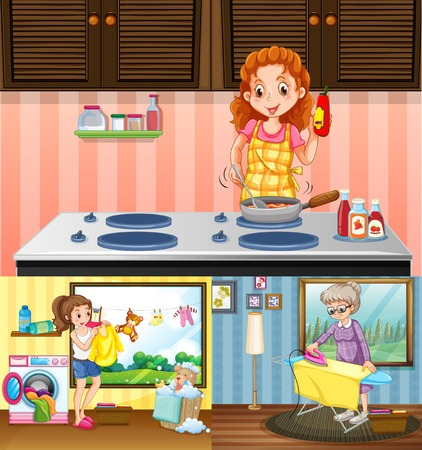 art activity: Women doing different chores in the house illustration