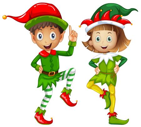 elves: Male and female elves on white background illustration