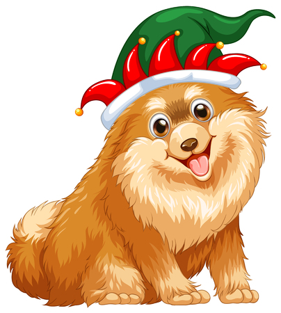 cute dog: Cute dog wearing jester hat illustration Illustration