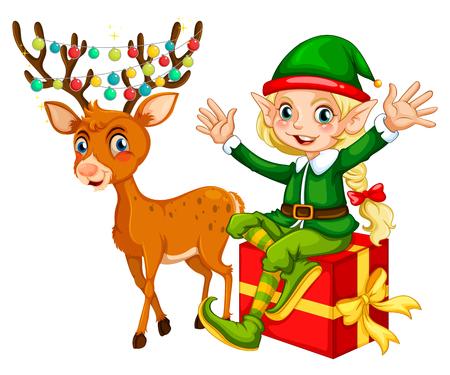Tema de Navidad con la ilustración duende y reno