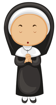 religious backgrounds: Nun in black outfit illustration