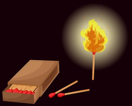 box of matches: Matchbox and lighted match illustration Illustration