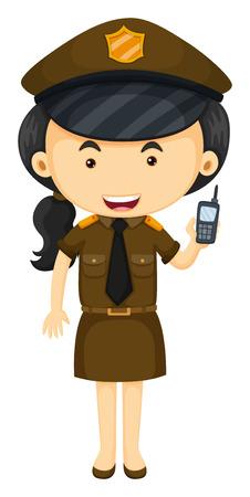 femme policier: Policière en brun illustration uniforme Illustration