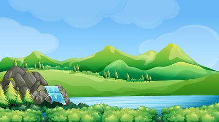 cascade mountains: Nature scene with waterfall and mountains illustration