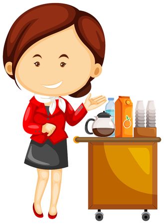 Flight attendant serving drinks on airplane illustration Illustration