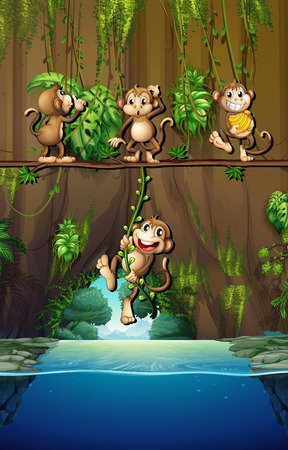 outside: Scene with monkeys and river illustration Illustration