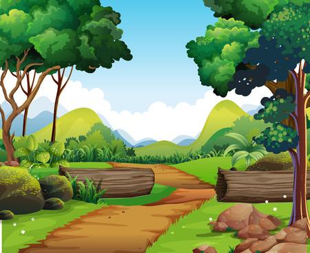 Scene con la pista escursioni e gli alberi illustrazione