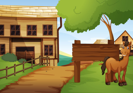 western town: Western old town with horse by the road illustration