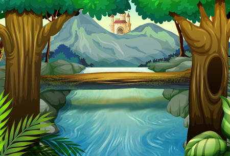 fantacy: Scene with river in the forest illustration