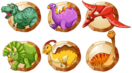 sauropod: Different types of dinosaurs on round buttons illustration Illustration