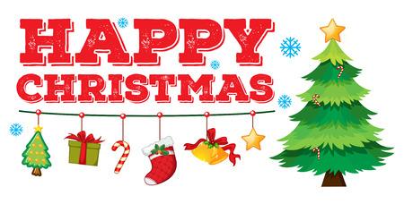 christmas tree illustration: Christmas card with ornaments and tree illustration Illustration