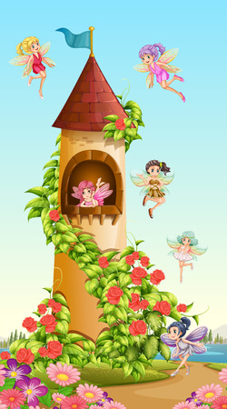 fantacy: Fairies flying around tower illustration