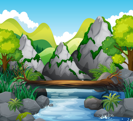 drawing trees: Scene with mountains and river illustration