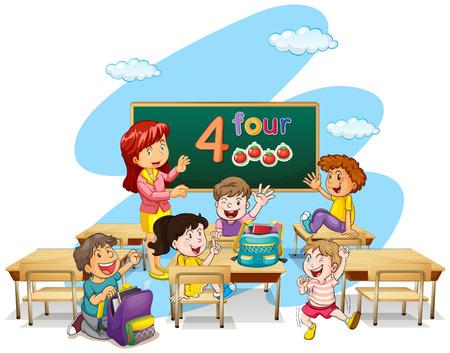 Teacher teaching students in classroom illustration Stock Vector - 64619713