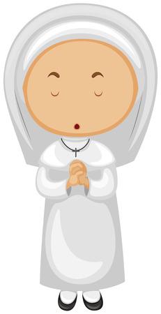 nun: Nun in white outfit praying illustration