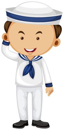 white uniform: Sailor in white uniform illustration Illustration