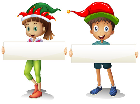adolescent boy: Boy and girl holding blank signs illustration