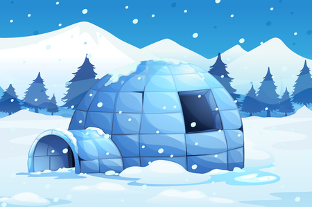 north pole: Igloo in the north pole illustration Illustration