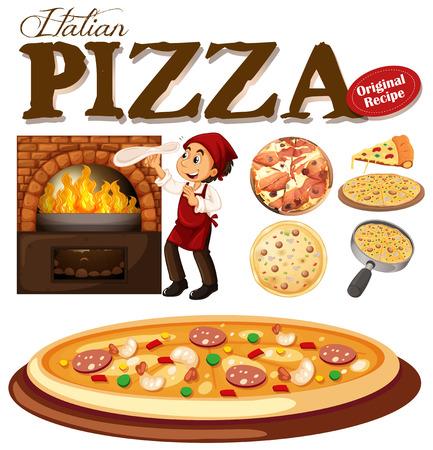 Cocinero que hace la pizza en el horno de la ilustración